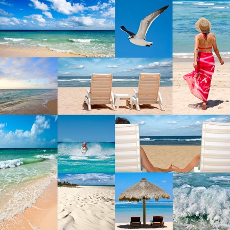 Collage of photos about beach vacations