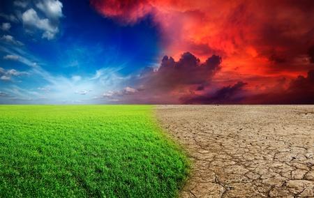 Photo pour Ecology landscape - climate change concept, desert invasion - image libre de droit