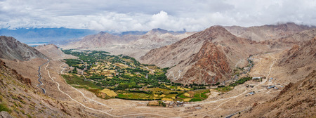 Panorama of green Indus valley from ascend to Kardung La pass - allegedly the highest motorable pass in the world (5602 m). Ladakh, India