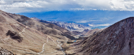 Panorama of Indus valley from Kardung La pass - allegedly the highest motorable pass in the world (5602 m). Ladakh, India