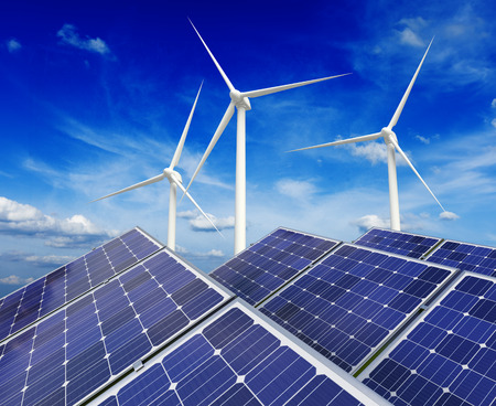 Photo for Solar battery panels and wind generators - Royalty Free Image