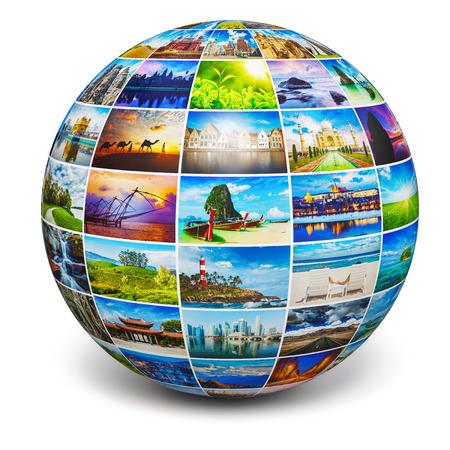 Foto de Globe with travel photos - Imagen libre de derechos