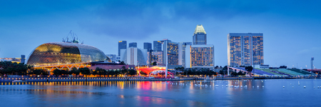 Panorama of Singapore skyline at Marina Bay in the evening