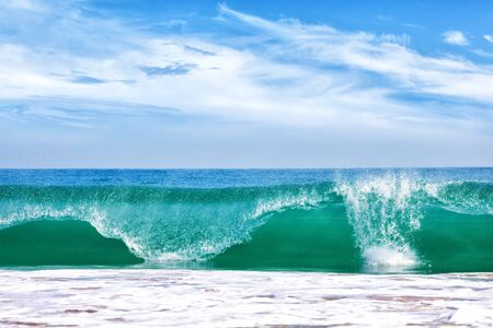 Photo for Big wave in ocean with blue sky - Royalty Free Image