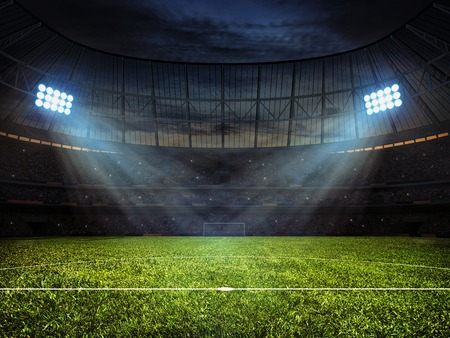 Photo pour Sport concept background - soccer footbal stadium with floodlights. Grass football pitch with mark up and soccer goal with net - image libre de droit