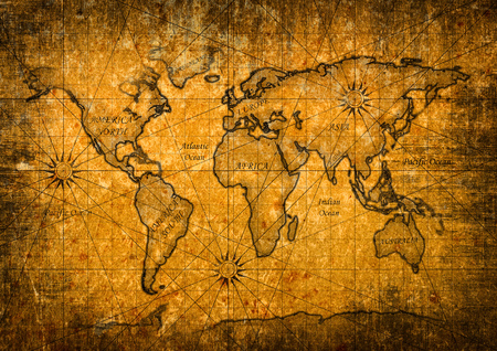 Photo pour Vintage world map with grunge texture - image libre de droit