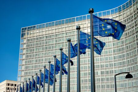Foto de EU flags in front of European Commission - Imagen libre de derechos