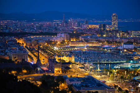 Photo for Aerial view of Barcelona city and port with yachts - Royalty Free Image