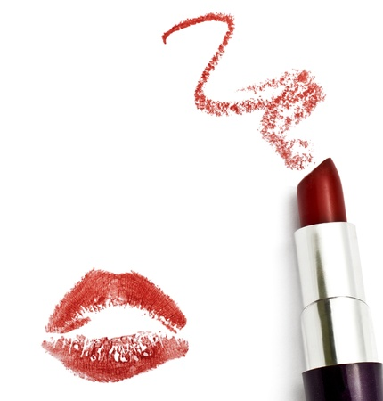 Red lipstick with a kiss on white background