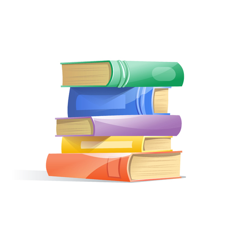 Illustration pour Pile of books, isolated on a white background. Concept of learning. Vector illustration. - image libre de droit