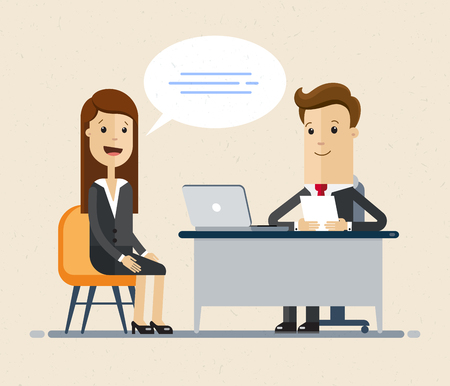 Illustrazione per Woman having a job interview with Businessman HR. Illustration isolated on white background. - Immagini Royalty Free