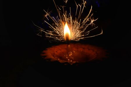 Photo pour diwali lamp,hand fireworks,firework,mix firework and diwali lamp,beautiful small firework,diwali lamp top view - image libre de droit