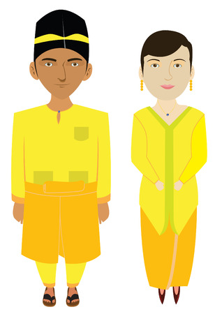 Malaysia Malays Traditional Costume Illustration