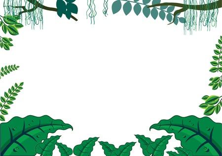 Ilustración de Green Tropical Jungle Frame Concept - Imagen libre de derechos