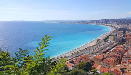 Photo for Panorama of Nice city, Promenade des Anglais, Cote d'Azur, French riviera, Mediterranean sea, France - Royalty Free Image