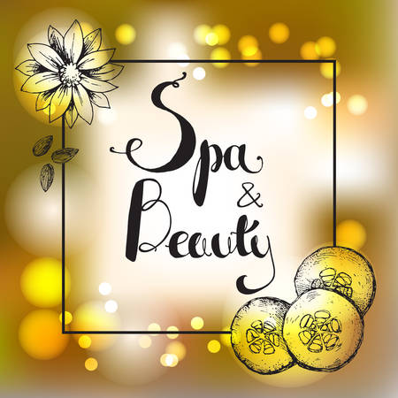 Vector golden blur background with hand lettering. Spa and beaut