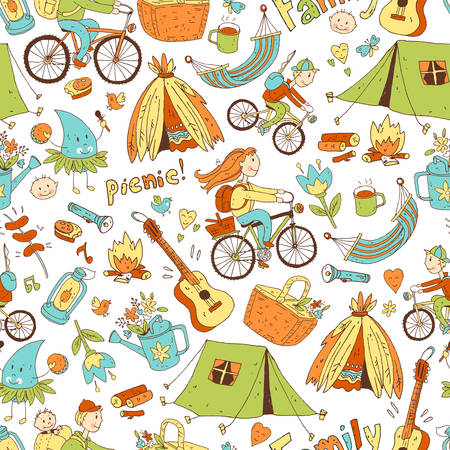 Vector seamless pattern with cute doodle family. Equipment for c