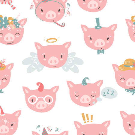 Vector seamless pattern with piglet faces. Emoji. Sleeping, ange