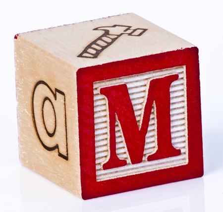Wooden Block Letter M