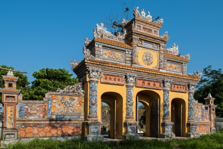 One of the most magnificent and well preserved gateways in the protected by UNESCO old imperial city of Hue, Vietnam