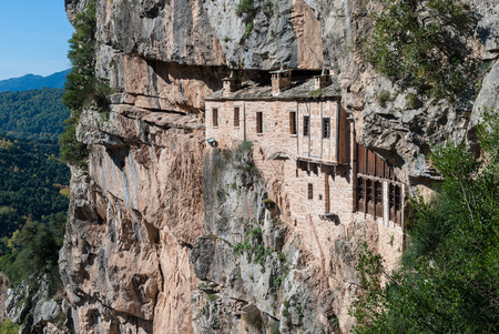 The historic Kipina Monastery on a cliff of the Tzoumerka mountains in Epirus, Greece