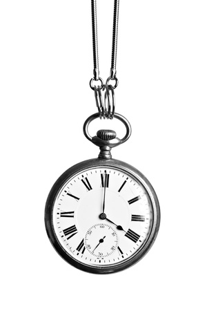 Vintage pocket watch, hanging, isolated on white