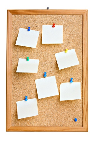 Cork board with blank notes , isolated on white