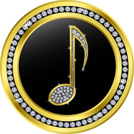 music note button, golden with diamonds