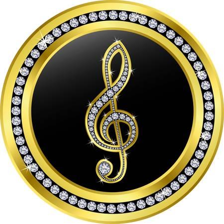 treble clef button, golden with diamonds