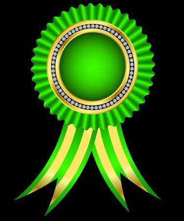 Green award ribbon, golden with diamonds