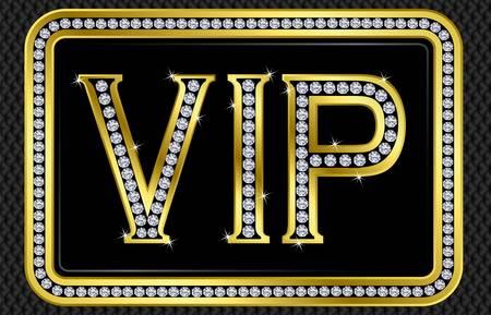 Vip pass card, golden with diamonds, vector illustration