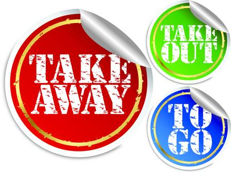 Illustration pour Take away, take out and to go stickers, vector illustration - image libre de droit