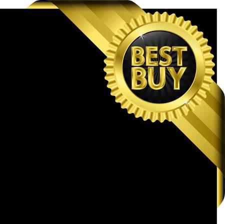 Illustration pour Best buy golden label with golden ribbons - image libre de droit
