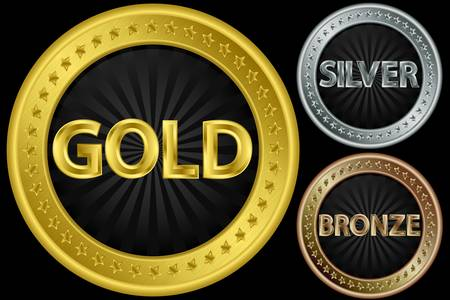 Golden, silver and bronze empty coins, illustration