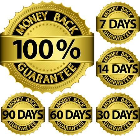 Money back guarantee golden set, vector illustration
