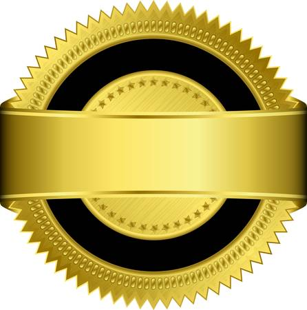 Golden blank label with golden ribbon