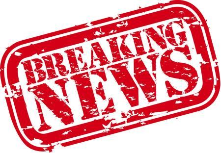 Grunge breaking news rubber stamp