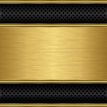 Abstract golden background with metallic speaker grill, illustration