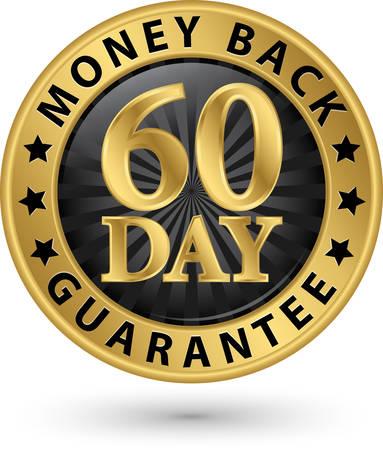 Vektor für 60 day money back guarantee golden sign, vector illustration - Lizenzfreies Bild