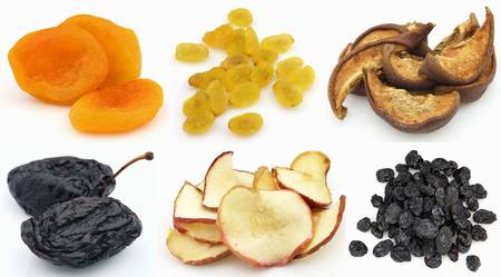 Collage from dried fruits