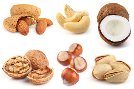 Collage from nuts on a white background