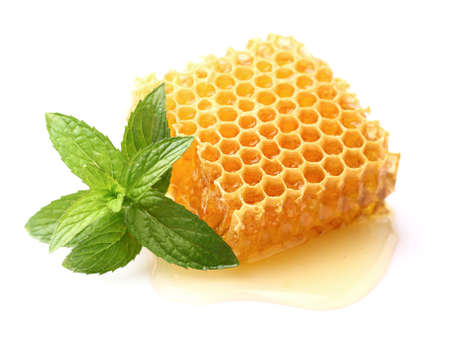 Honeycomb with mint in closeup