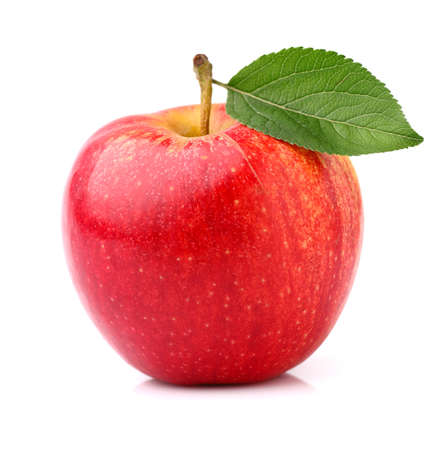 Photo for Red apple with leaf - Royalty Free Image