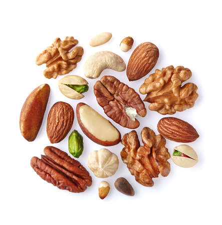 Photo for Mix nuts on a white - Royalty Free Image