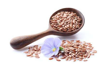 Photo pour Flax seeds on white background - image libre de droit