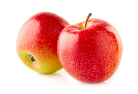 Photo for Two apples in closeup on white background - Royalty Free Image