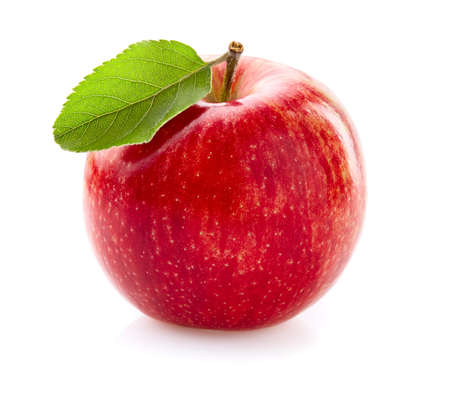 Photo for Apple with leaf on white - Royalty Free Image