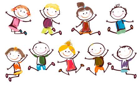 Illustration for jumping kids  - Royalty Free Image
