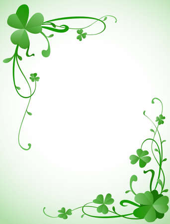 background design for St. Patrick's Day with three leaves clovers