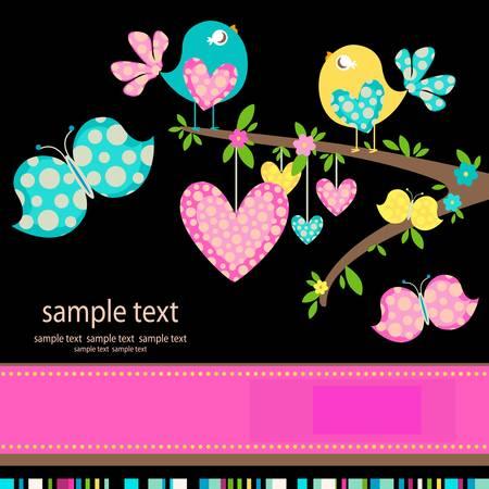 Ilustración de spring birds in love - Imagen libre de derechos